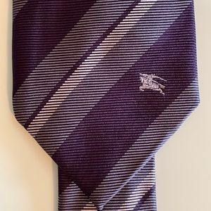 Burberry Blue Modern Cut Check Silk Jacquard Tie